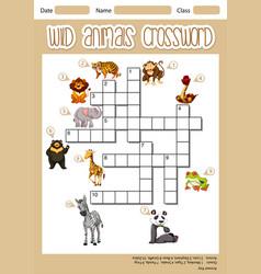 Wild animals crossword concept vector