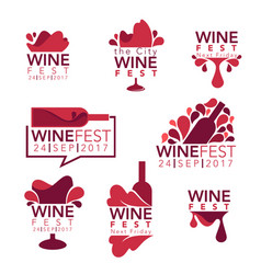 Wine fest red wine bottles and glasses logo vector