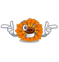 Wink calendula flowers in a cartoon basket vector