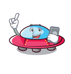 With phone ufo character cartoon style vector