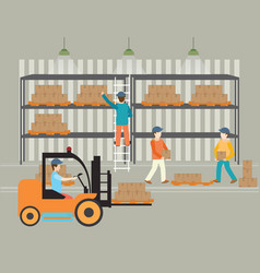 Workers warehouse load boxes vector