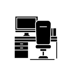 workplace with computer and chair black icon vector image