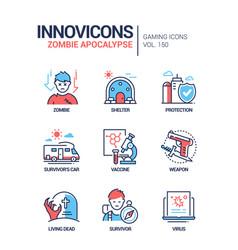 Zombie apocalypse - modern line design style icons vector