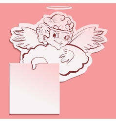 Angel holding a sheet of paper vector image vector image