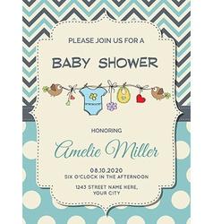 Beautiful baby boy shower card vector image