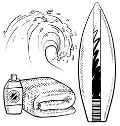 doodle beach surfing set vector image