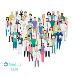 healthcare medical team in heart shape vector image