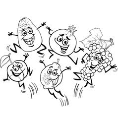jumping fruits cartoon coloring book vector image vector image