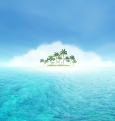 Ocean Wave And Tropical Island With Palms vector image