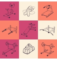 Set of nine with sports equipment vector image vector image