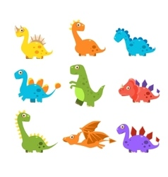 Small Colourful Dinosaur Set Collection vector image vector image
