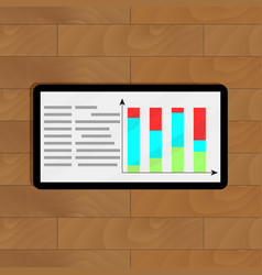 tablet with graphic and chart vector image vector image