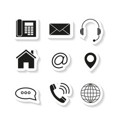 Contacts set sticker icons vector