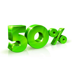glossy green 50 fifty percent off sale isolated vector image vector image