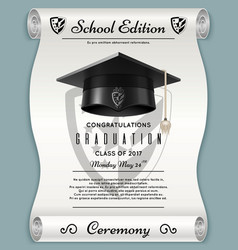 high school academic concept with graduation cap vector image
