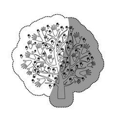 monochrome background sticker of tree with leaves vector image vector image