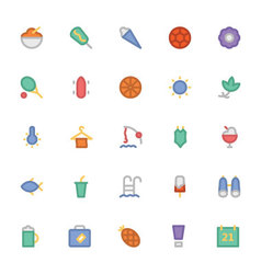 Summer Colored Icons 3 vector image vector image