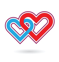 two hearts love vector image vector image