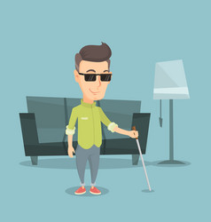 blind man with stick vector image