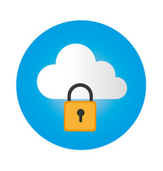 color circular frame with secure padlock cloud vector image