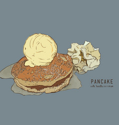 hand drawn pancakes with vanilla ice cream and vector image