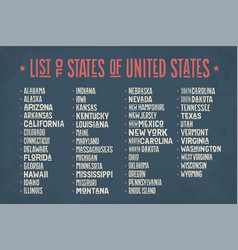 list of states of united states of america vector image