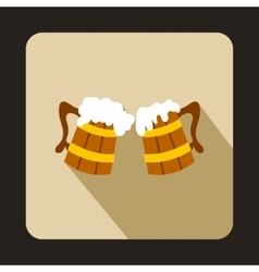 Two Wooden Mugs with Beer icon flat style vector image