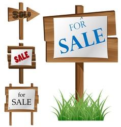 Wooden sale board set vector image