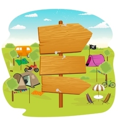 wooden signs near a campsite vector image