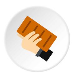 hand holding a brick icon circle vector image vector image