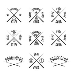 set emblems billiard club vector image vector image