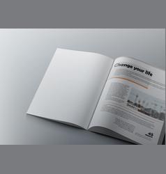 3d magazine design concept clean white page vector