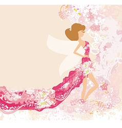 Abstract Beautiful floral Woman vector