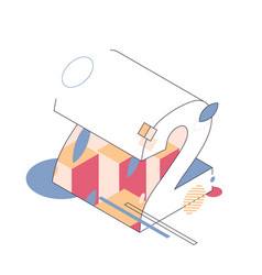 Abstract isometric number 2 drawn with outline vector