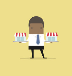 African businessman with franchise shop on tray vector