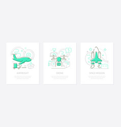 air transportation - line design style banners set vector image