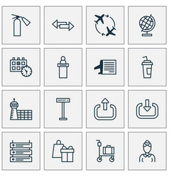 airport icons set with airport sign direction vector image