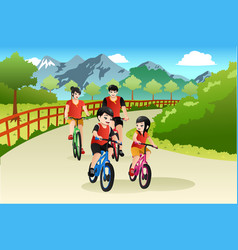 Asian chinese family biking outdoor vector