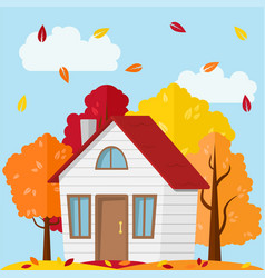 Autumn landscape country house in the autumn vector