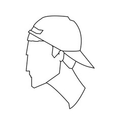 Avatar head guy young cap profile outline vector