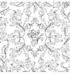 Baroque ornament pattern decorative floral border vector