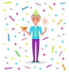 birthday boy standing under confetti at party vector image
