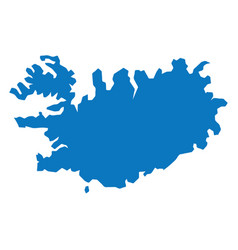 blank blue similar iceland map isolated on white b vector image