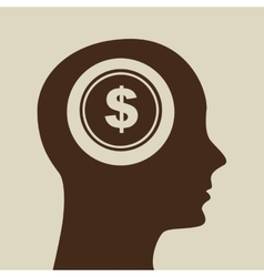 blue silhouette head money dollar icon design vector image