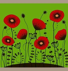 bright green background with red poppies vector image