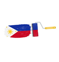 brush stroke with philippines national flag vector image