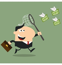 Business Man Chasing Money Cartoon vector image