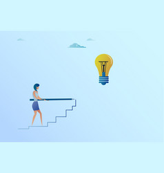Business woman drawing on stairs up to light bulb vector