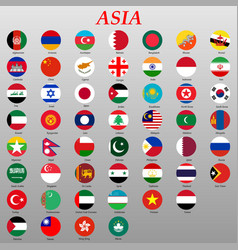Buttons with asian countries flags vector