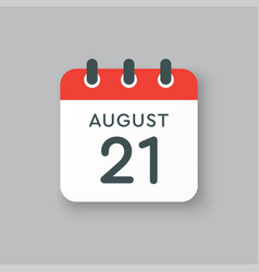 Calendar icon day 21 august date days year vector
